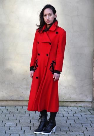 Vintage 1980's Long Red & Black Woolen Military Coat