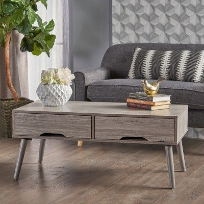 Noemi Coffee Table Gray Oak Christopher Knight Home Grey Brown Coffee Table Grey Coffee Table For Small Living Room Furniture Styles