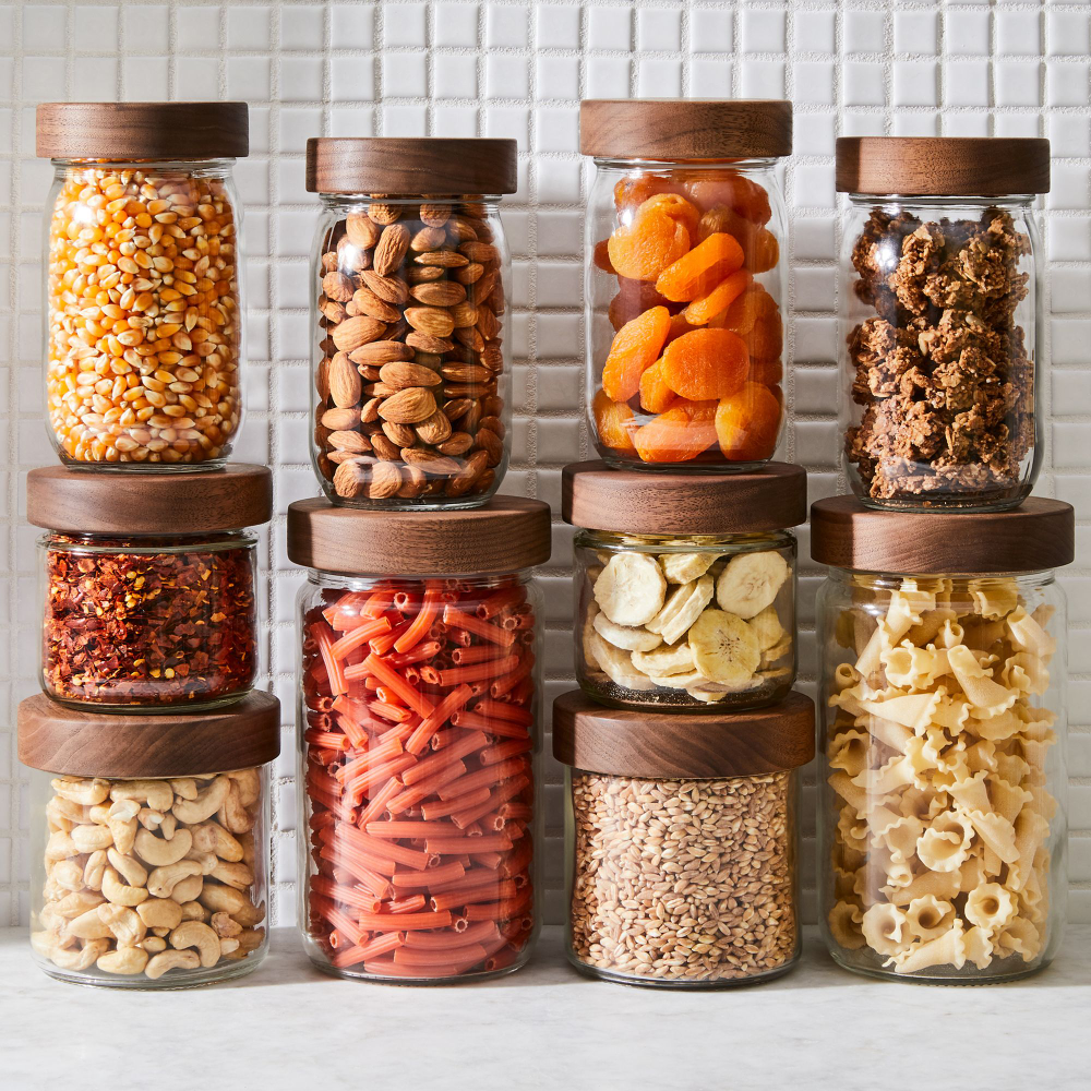 Stackable Storage Jar with Hand-Turned Lid, by Turnco Wood Goods - 3 sizes