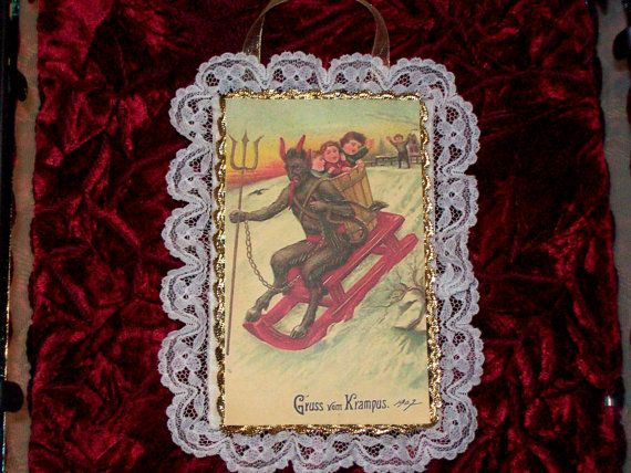 Krampus on a sled holiday ornament - Christmas devil, Victorian