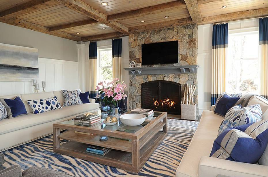 Eclectic Living Room With Nuloom Earth Royal Blue/beige Radiant Zebra Area  Rug, Wainscoting