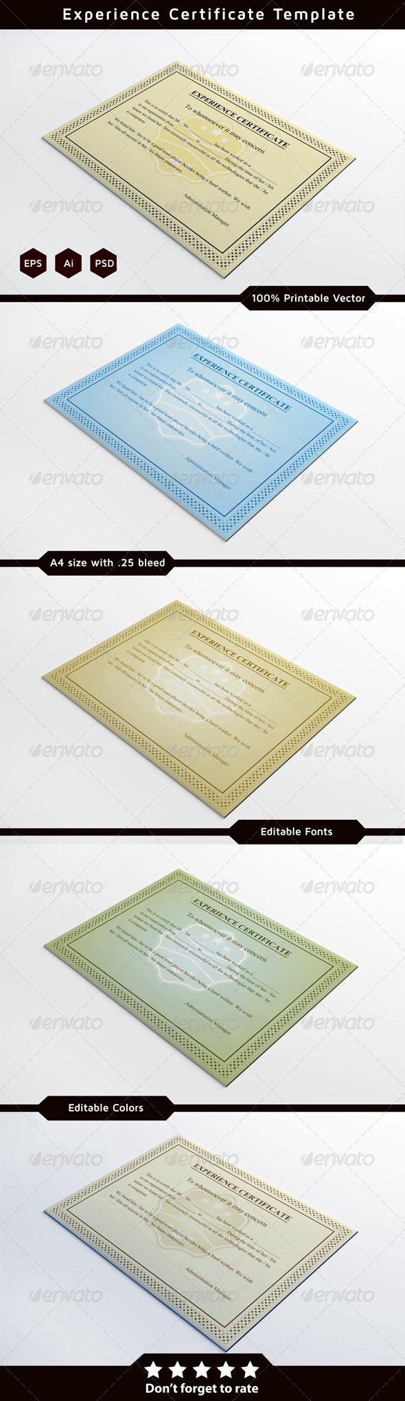 Experience certificates certificate print templates and ai experience certificates yadclub Gallery