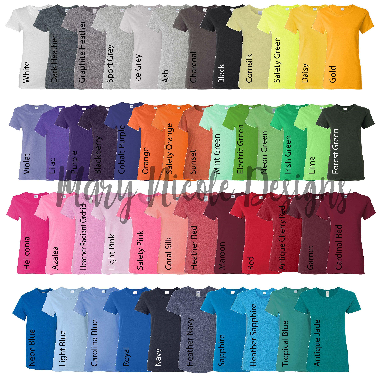 Every Color Digital File Shirt Color Chart Gildan 500l Unisex