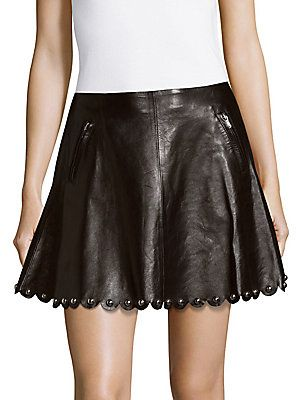 785a13c986 RED VALENTINO NO-WAISTBAND STYLE LEATHER MINI SKIRT. #redvalentino #cloth #