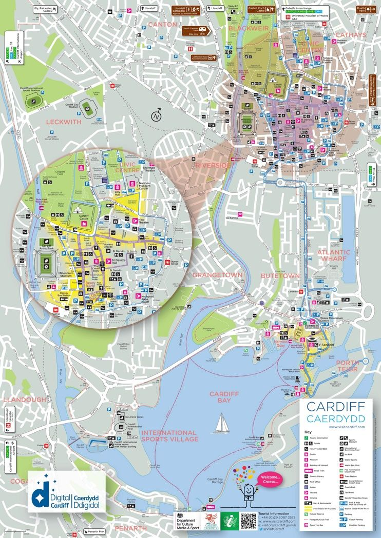 Cardiff tourist map Maps Pinterest Tourist map Cardiff and City