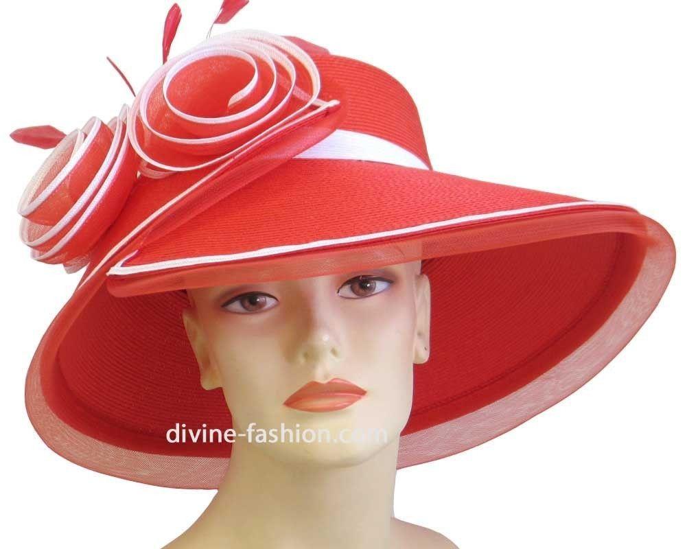 Women s Dressy Church Hat Derby Straw Hat Red White 9606  9f067d7fad6