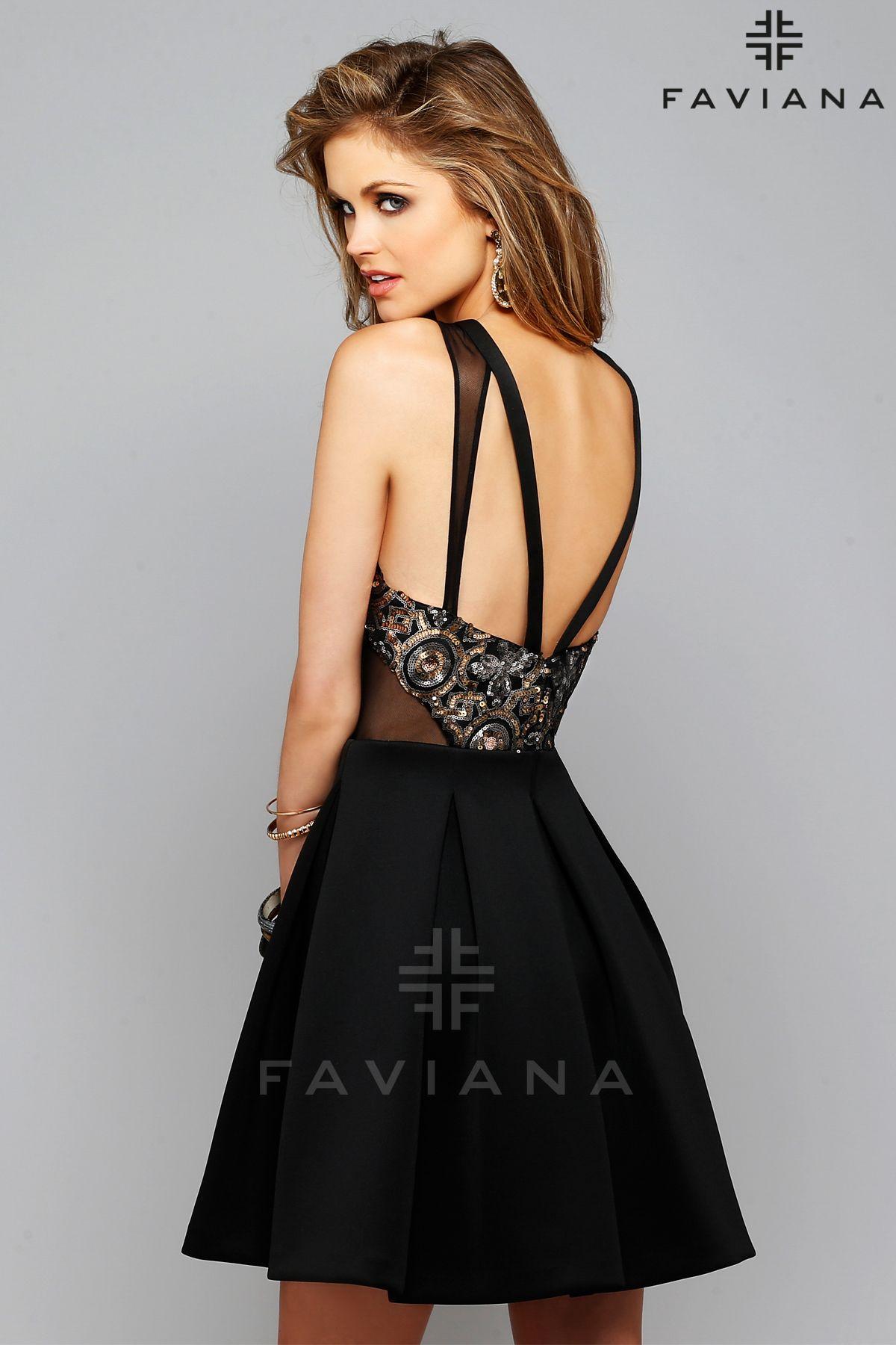 Timeless in black favianany pattern sequin and neoprene skirt