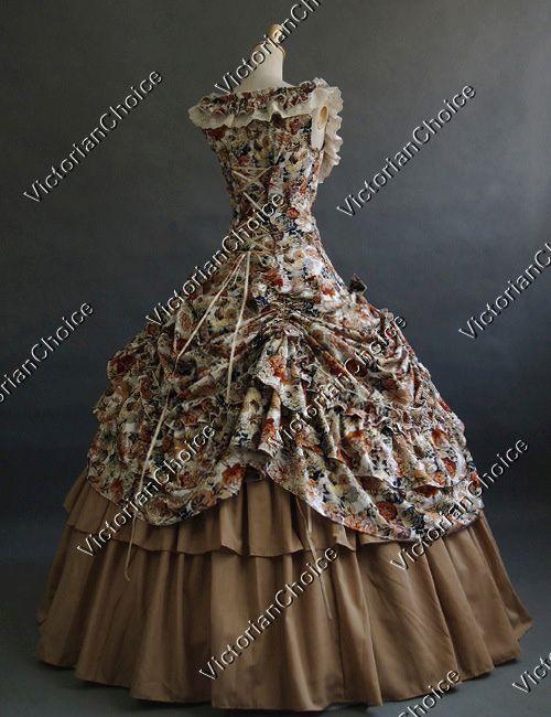 Southern Belle Victorian Floral Dress Marian Theatre Women Halloween ...