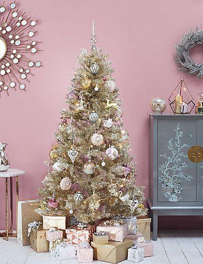 6ft Gold Tinsel Christmas Tree MS Christmas decor ideas