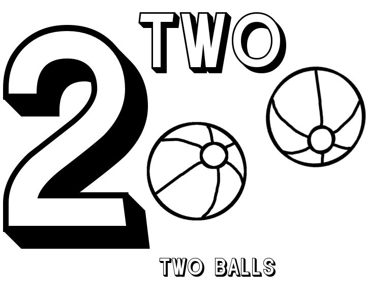 Free number 2 twov balls coloring sheet place to go for Preschool number coloring pages