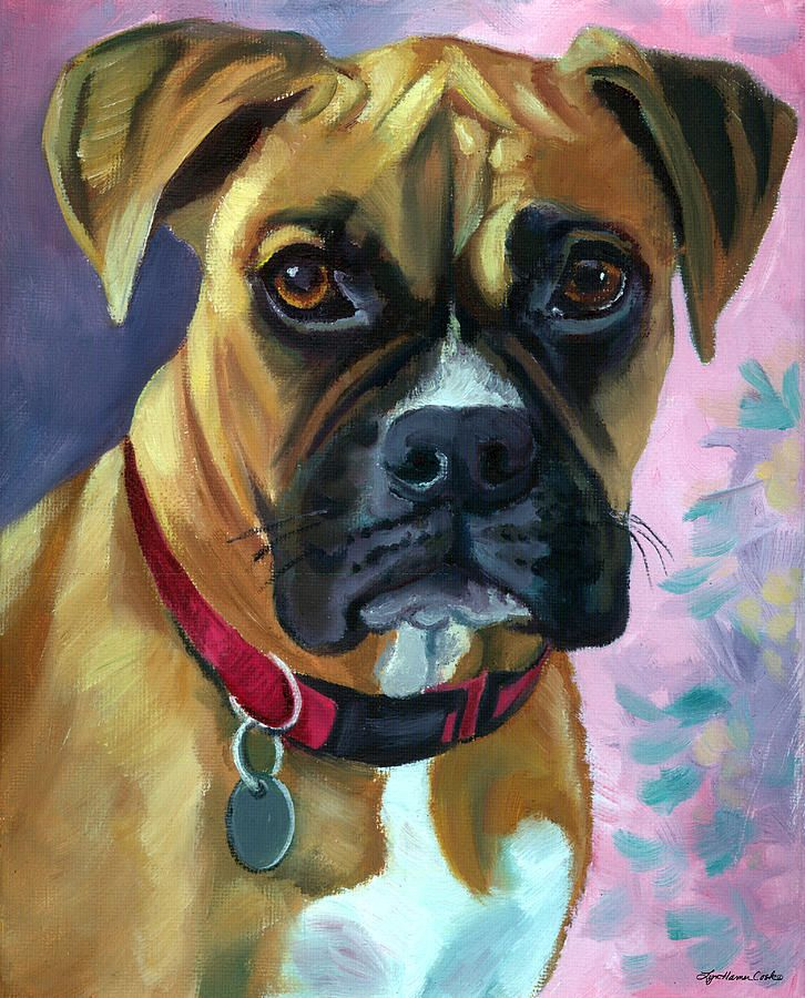 Boxer Dog Portrait by Lyn Cook Dog paintings, Dog
