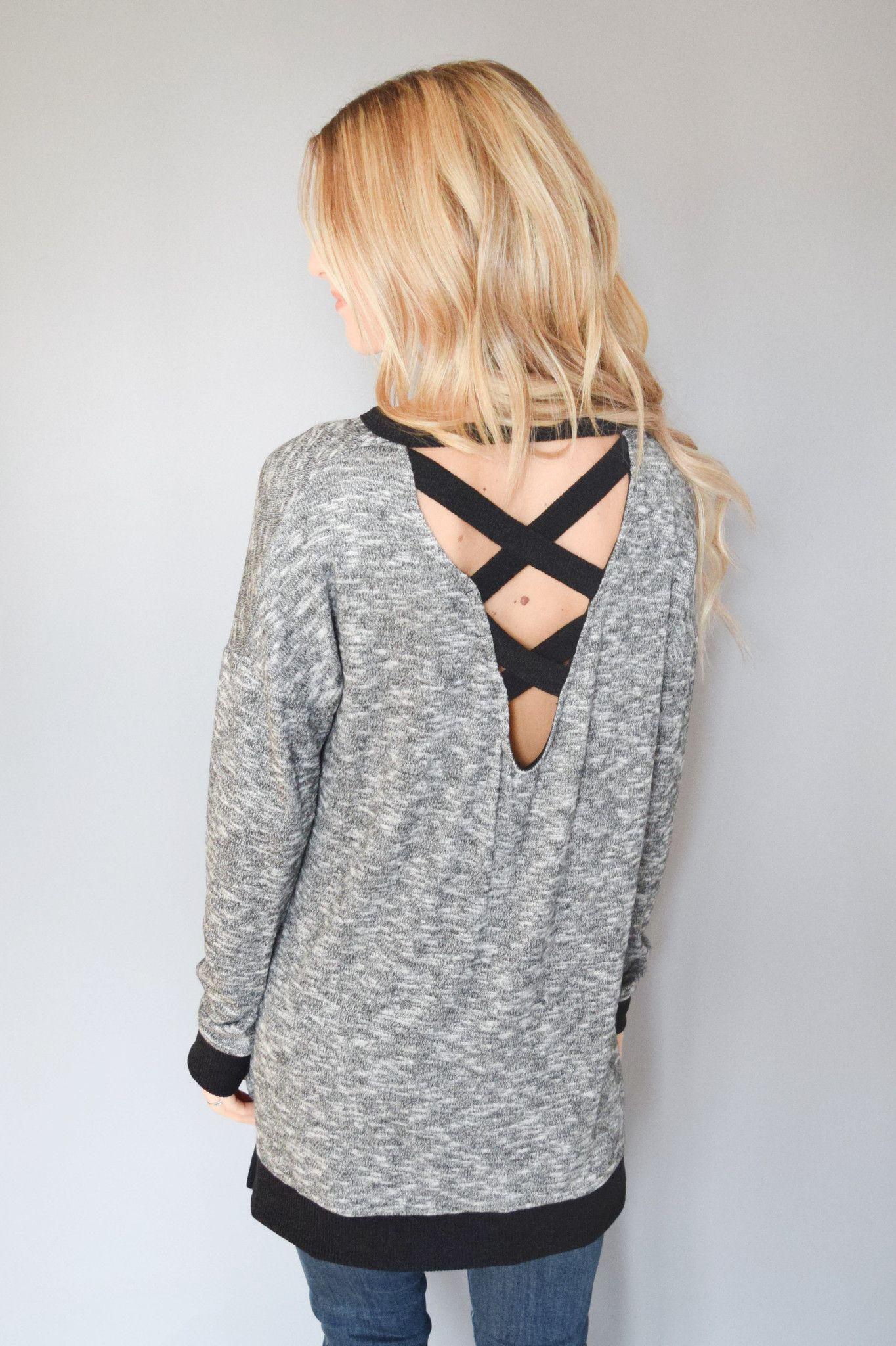 Charcoal Cross Back Sweater Top