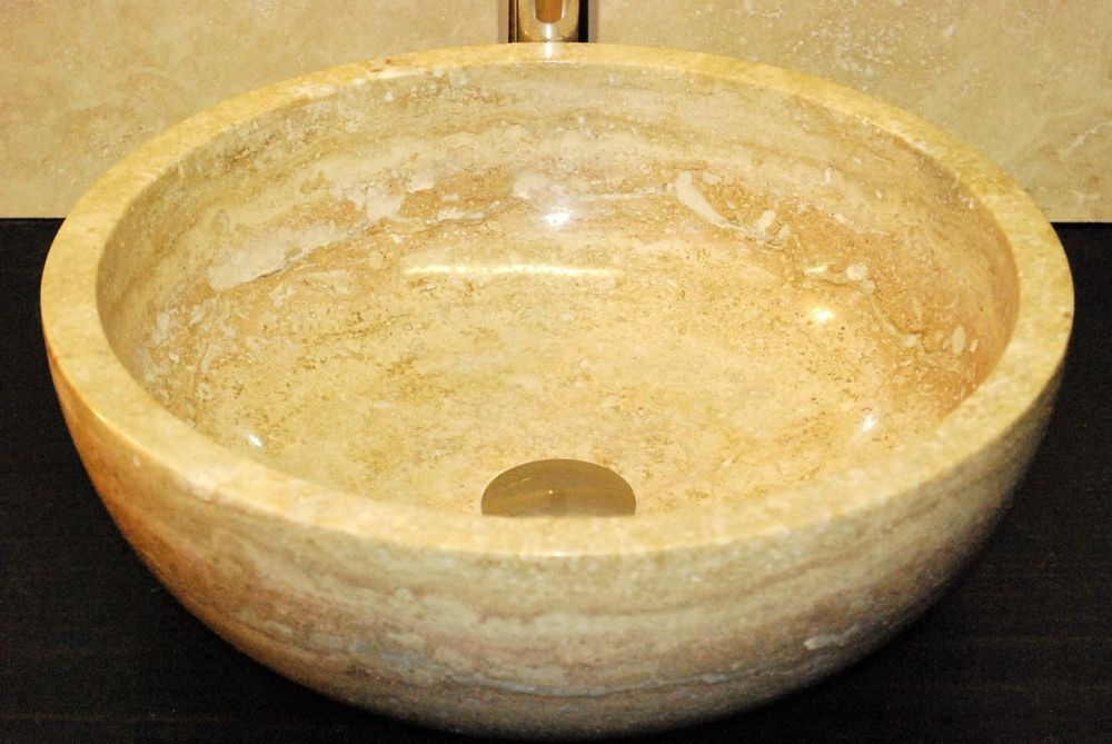 Walnut travertine stone vessel sink bathroom marble natural stone - Vessel Sinks Bathroom
