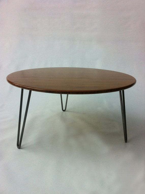 Mid Century Modern Coffee Table 34 Round Shaped Atomic Era Design In Caramelized Bamboo