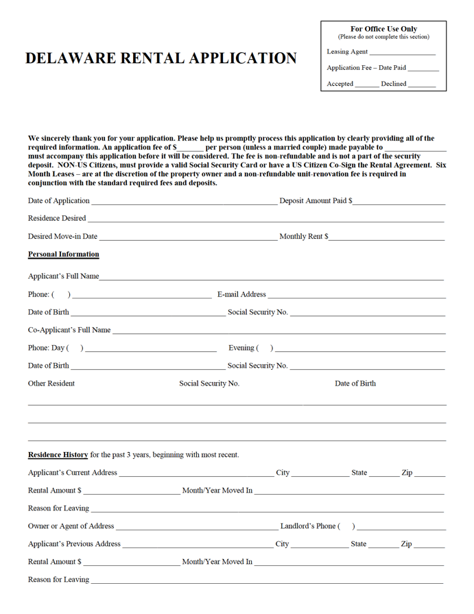 Delaware Rental Application Template Rental Application Being A Landlord Application