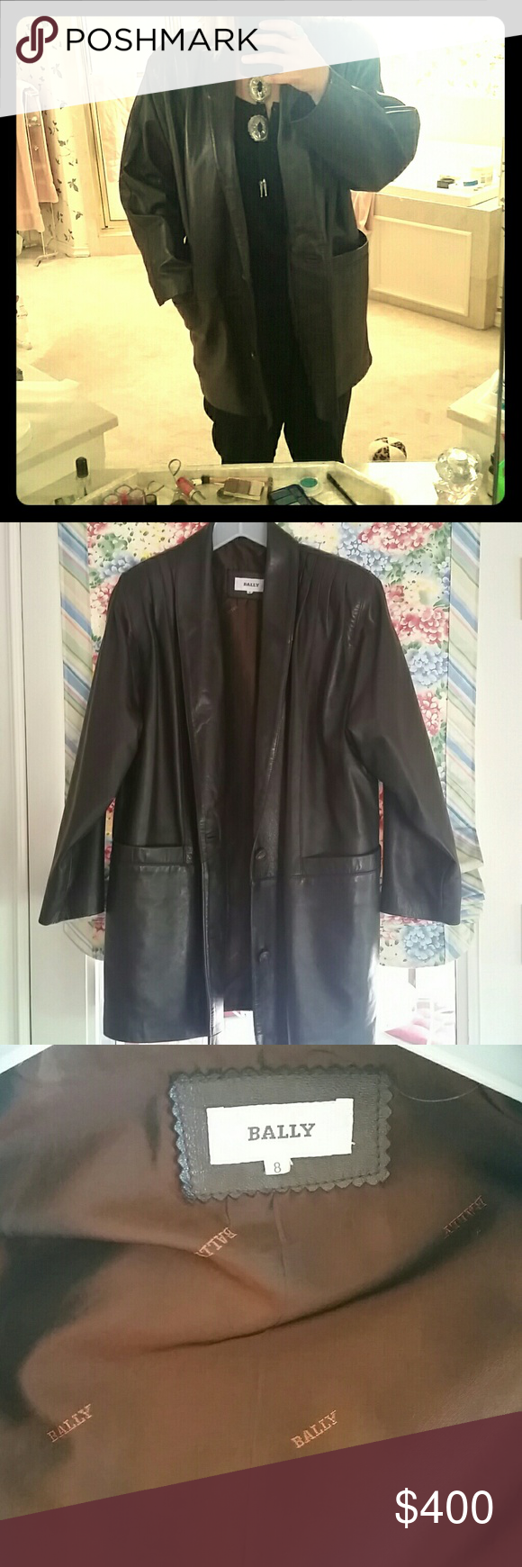 Bally Vintage Dark Brown Leather Coat 100% leather with silk lining. Dark brown and medium length with two pockets. Size 8. Size medium. A little bigger than it looks. Very very comfortable and in almost perfect condition! Has buttons as well. Made in Italy. bally Jackets & Coats