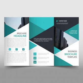 Green trifold business brochure template with triangular shapes green trifold business brochure template with triangular shapes wajeb Choice Image