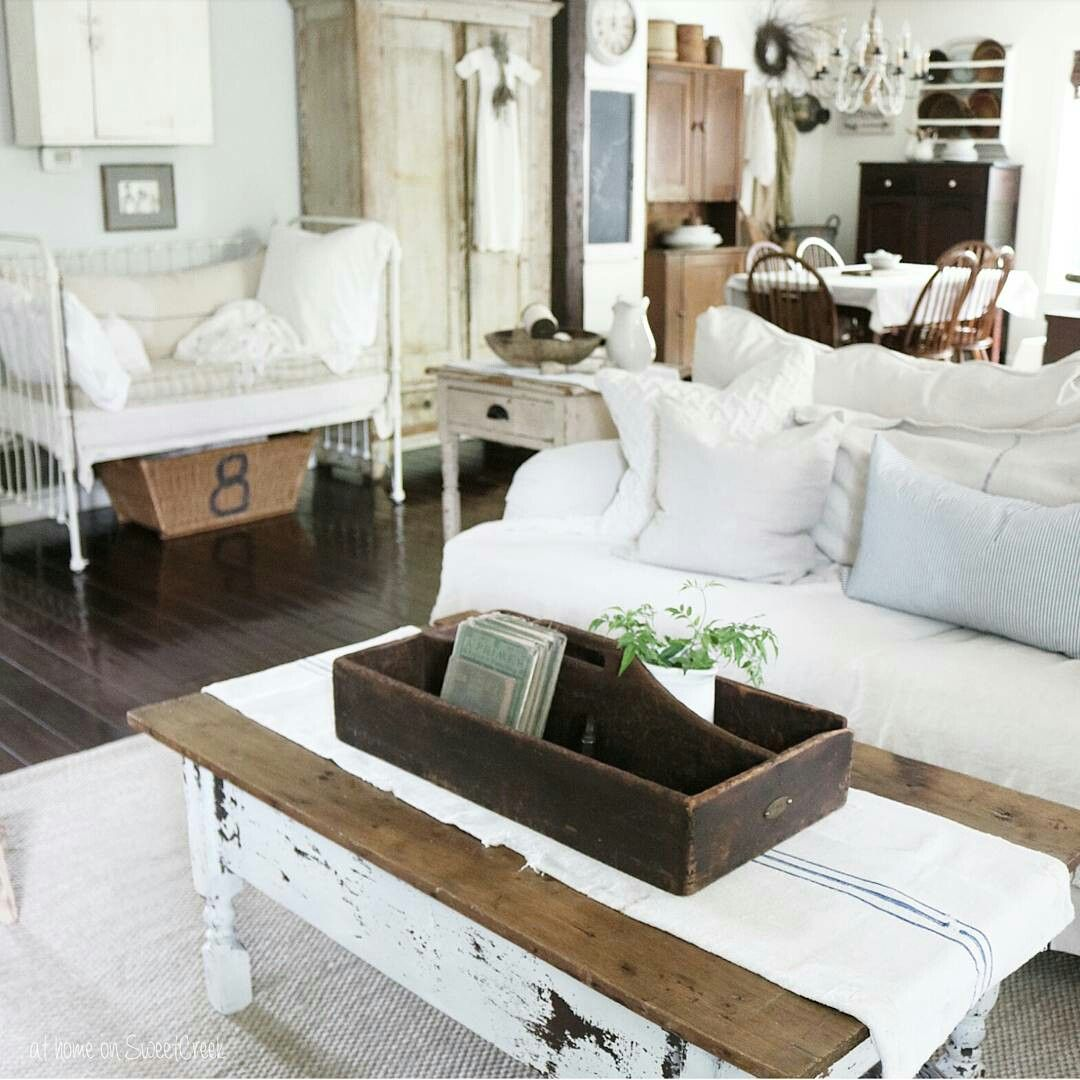 Farmhouse Living Room Re arrange - Antique Crib Daybed at home on ...