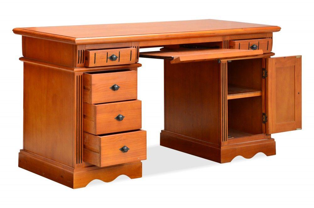 Schreibtisch Gotland - Pinie massiv - honigbraun - gebeizt ...