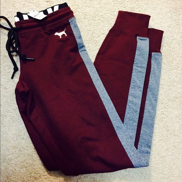 Maroon VS PINK Gym Pant Joggers NWT Got the wrong sizeWill ONLY lower price is bundled and will ONLY discuss price through offer button; otherwise blocked! In no rush to sell, just cleaning out my closet. No trades / holds / partials. I ship anywhere between 1-7 days because of my military work schedule. If you have any questions please let me know! Please use offer button for any negotiation. ❤️I do Bundle Discounts, just ask!!❤️ PINK Victoria's Secret Pants Track Pants & Joggers