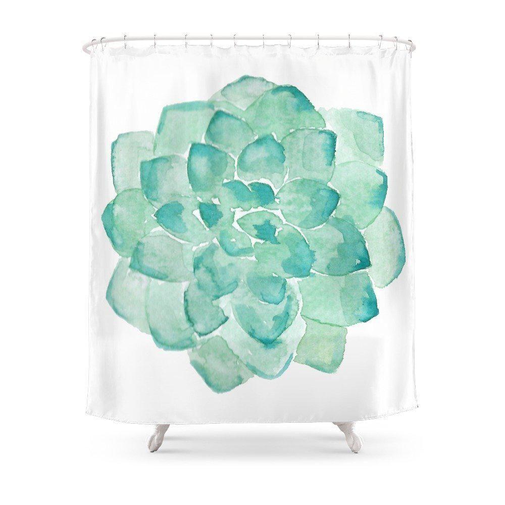 Watercolor Succulent Print In Seafoam Green Shower Curtain Fabric