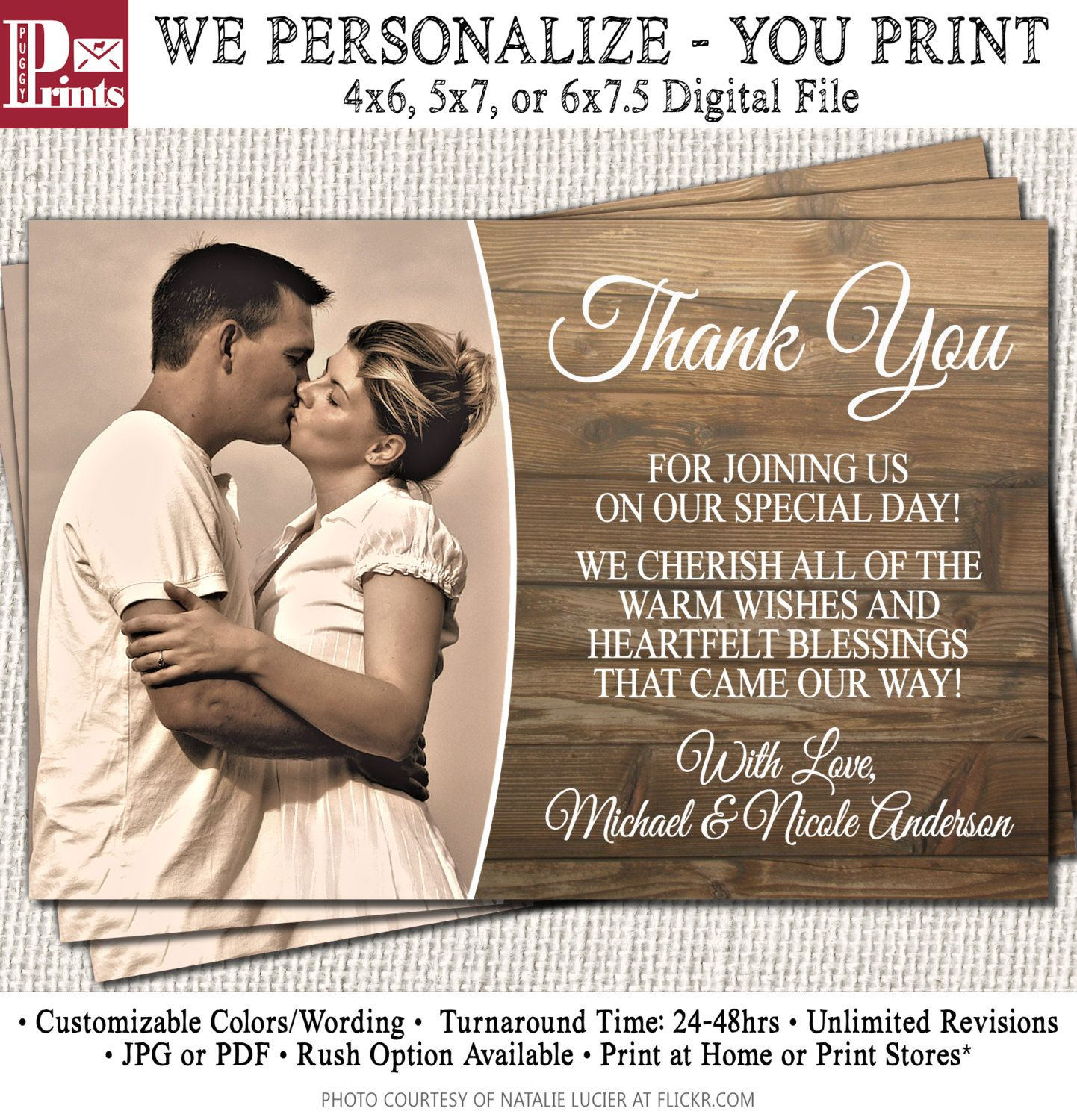 Wedding Anniversary Thank You Cards Rustic Wood Vintage By