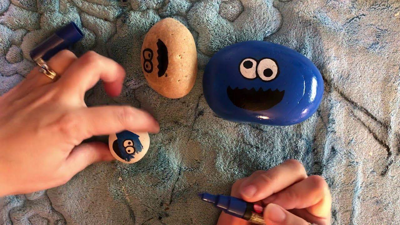 Cookie monster painted rock youtube paintedrocks