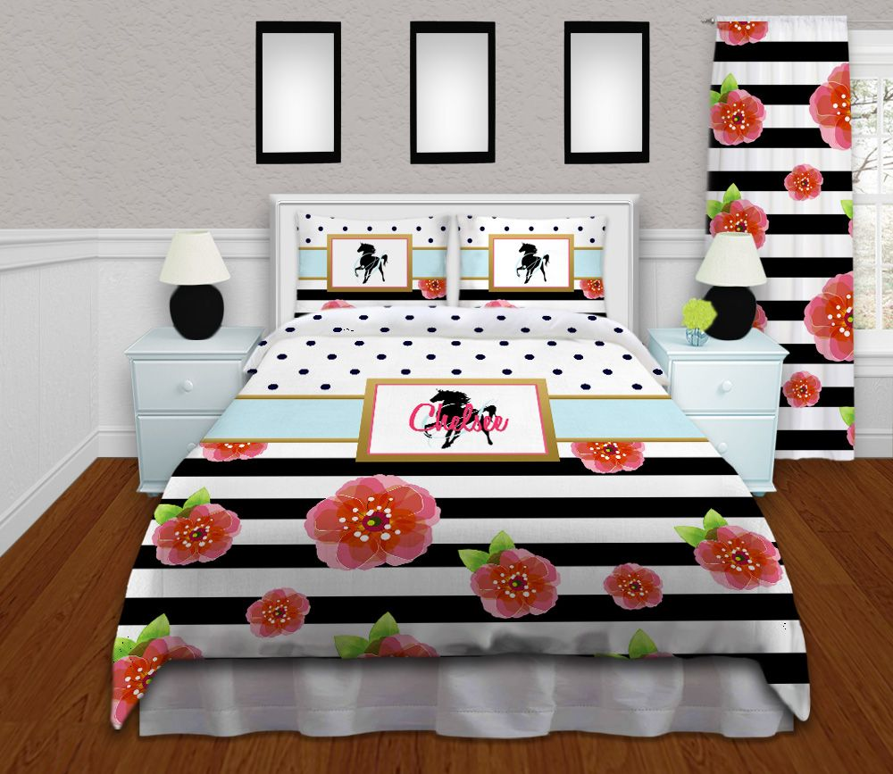 Horse bedding for girls - Horse Bedding For Girls In Black White Stripes With Flowers Navy Blue Polka Dots
