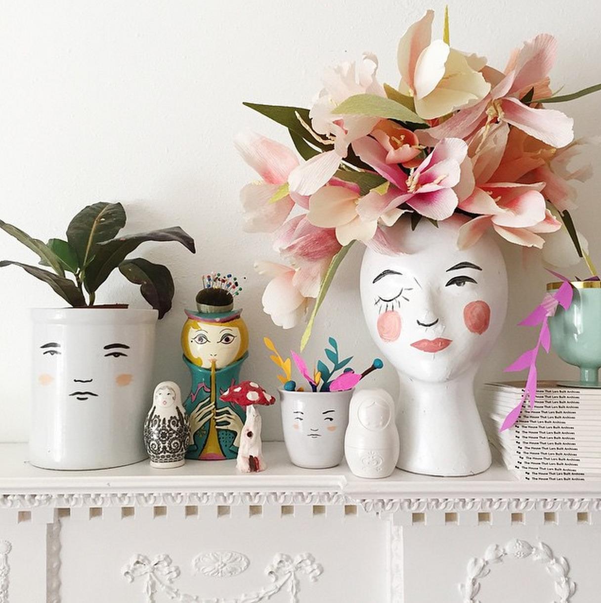 Motherfather Family Vase Human Face Crude Pottery Etsy In 2020 Flower Pots Unique Garden Art Unique Vases