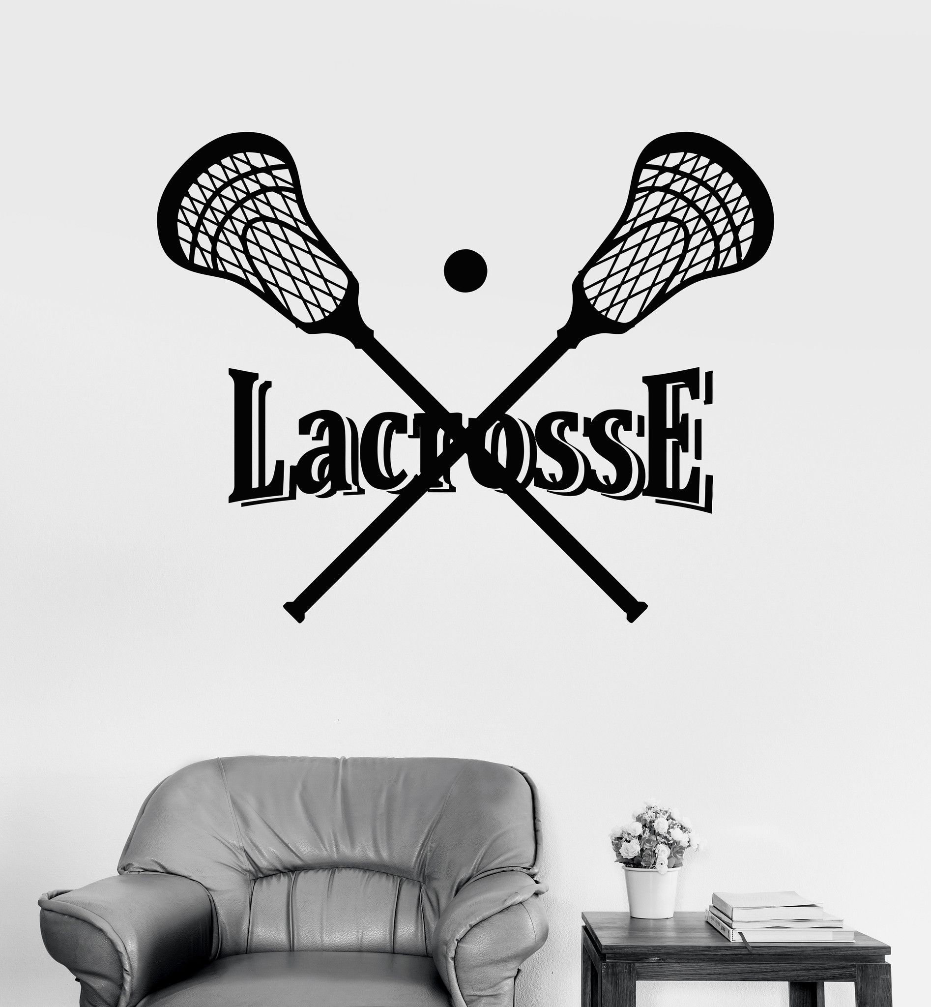 Vinyl Wall Decal Lacrosse Stick And Ball Player Sports Stickers (ig4062)