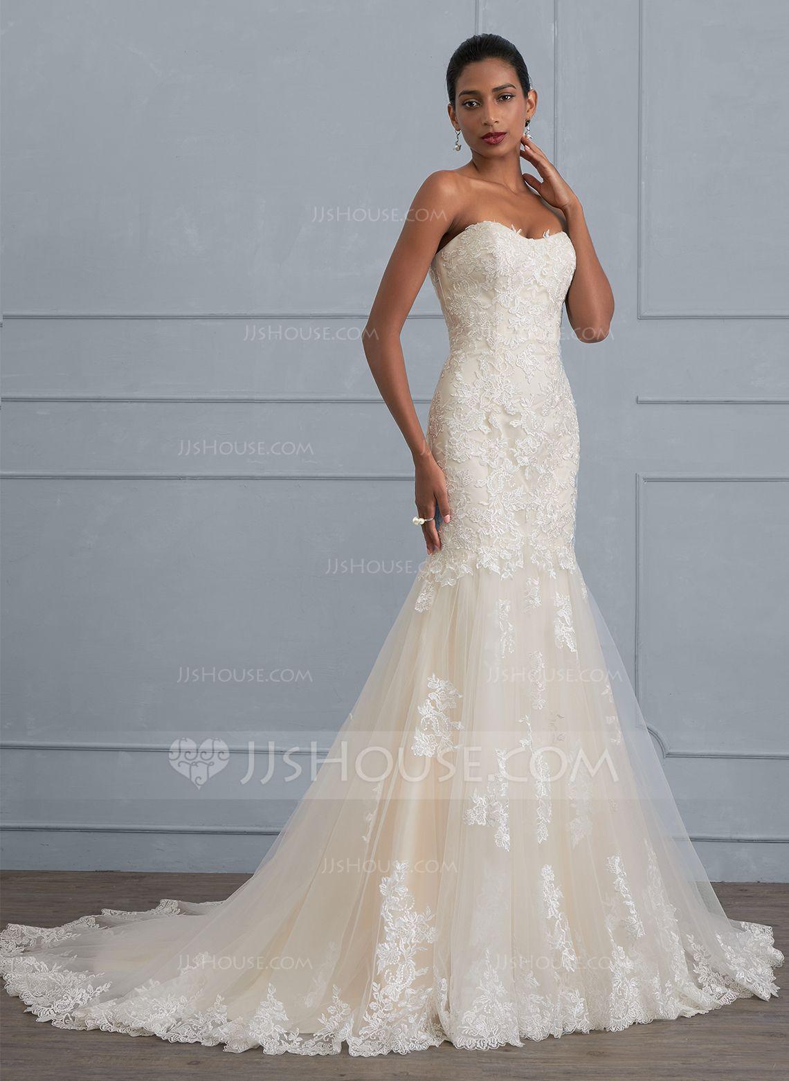 Au 438 00 Trumpet Mermaid Sweetheart Court Train Tulle Lace Wedding Dress Jj S House Trendy Wedding Dresses Wedding Dresses Lace Trumpet Wedding Dress [ 1562 x 1140 Pixel ]