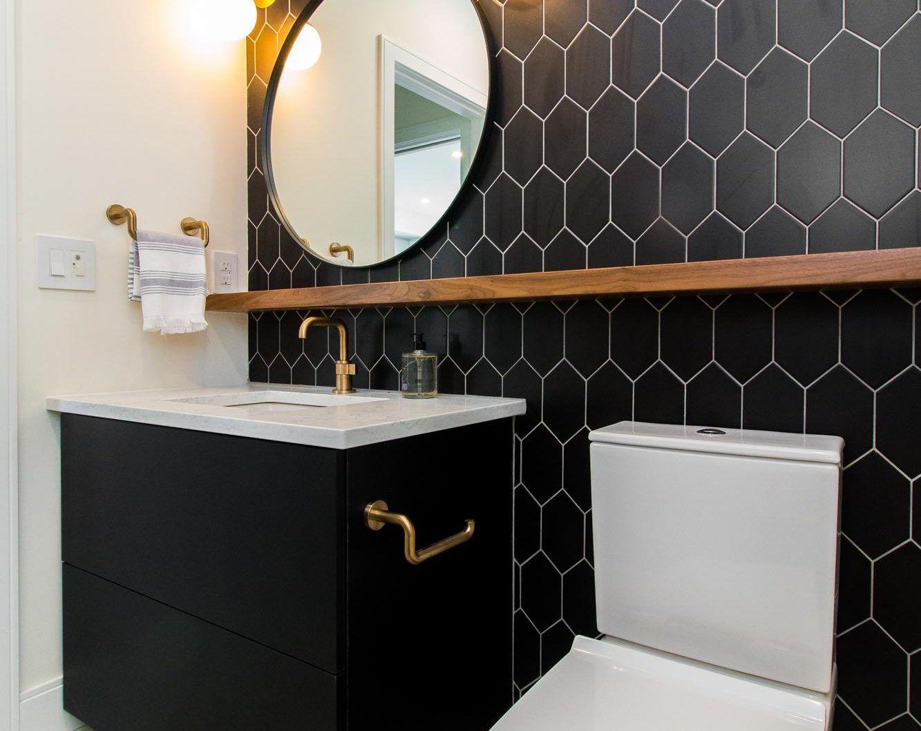 Northern Lights Interior Design Portfolio Winnipeg Black And Wood Powder Room With Lighting Design Interior Interior Design Portfolio Round Mirror Bathroom
