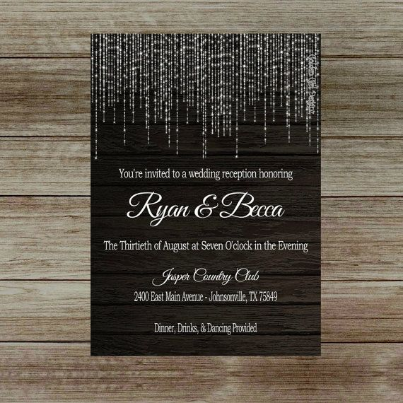 Lights wedding reception invitation on dark wooden background lights wedding reception invitation on dark by goldengirldesignz stopboris Choice Image