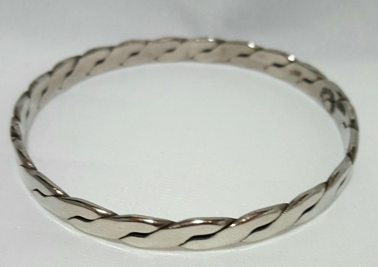 Sterling Silver Taxco Mexico Bangle ~Stamped 925 ~Flat Twist Design ~Solid Sterling ~Stamped Bracelet ~Flat Braid by RCVintageNKitsch on Etsy
