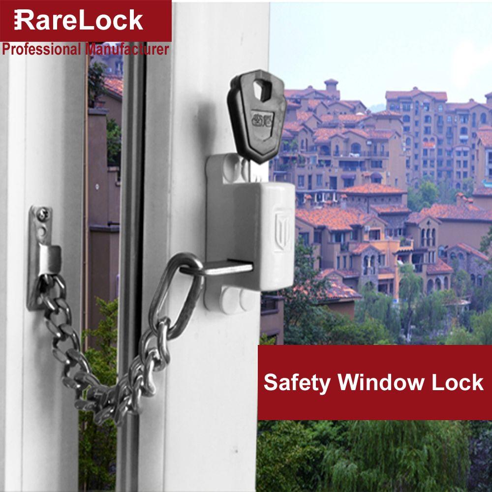 Rarelock Christmas Supplies Window Chain Lock With Keys For Sliding Door Bathroom Balcony Baby Care Anti Thief Home Diy A Window Locks Sliding Doors Chain Lock