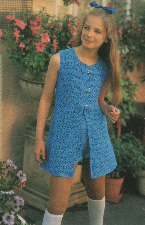 Girls Hot Pants and Waistcoat PDF Crochet Pattern : Childrens 25 ...