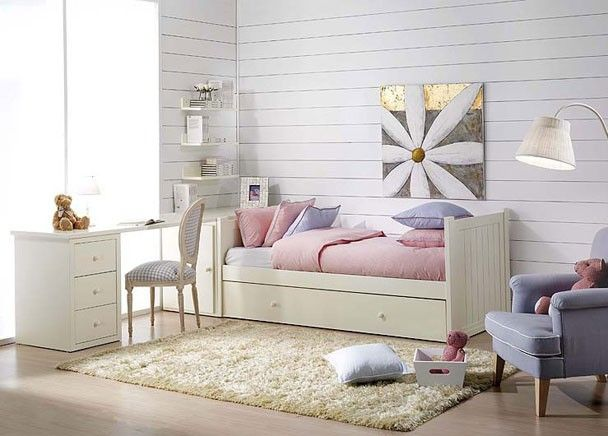 Juvenil con cama nido lacado blanco y mesa dormitorios for Cama nido con arcon