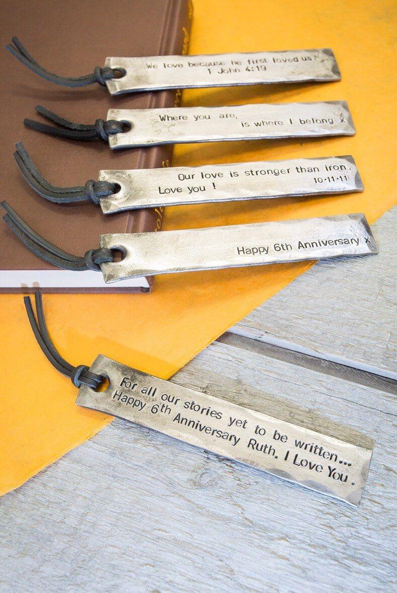 6th anniversary personalised bookmark iron anniversary