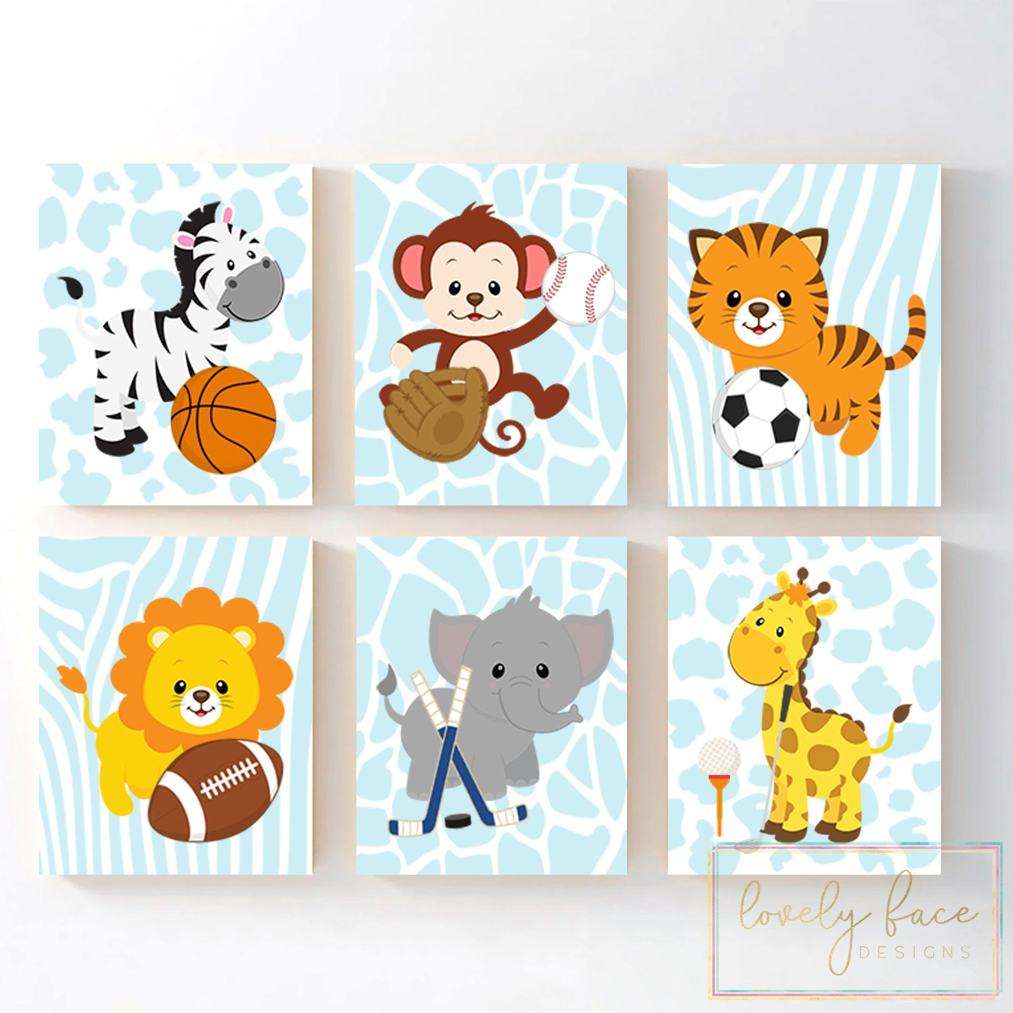 Safari Animals Sports Nursery Wall Art Jungle Animals Nursery Etsy Animal Nursery Decor Sports Nursery Nursery Prints Boy