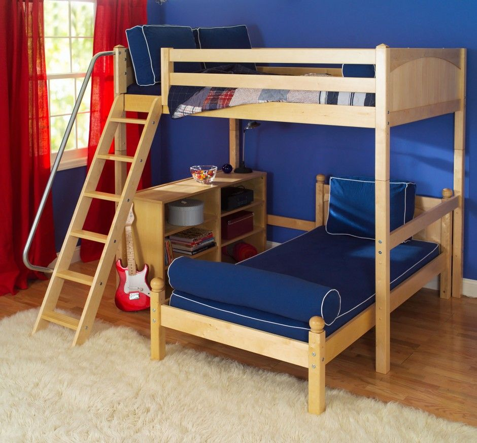 Loft bed with desk teenager  Kids Room Funky L Shaped Bunk Bed Plus Large Fur Rug Also Red