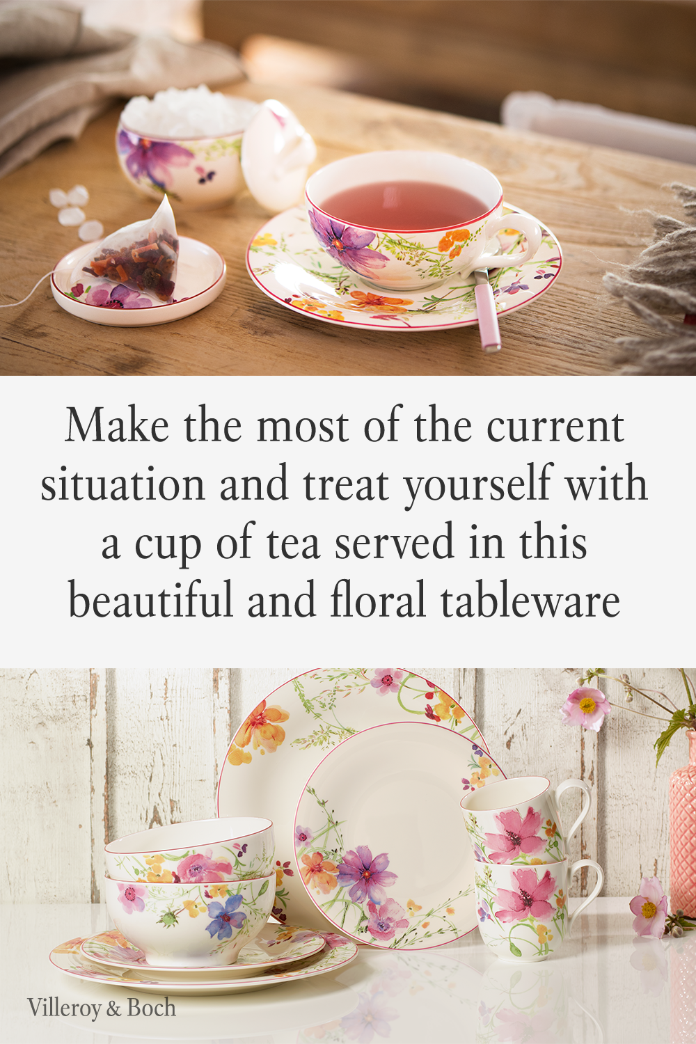 Do you spend at lot of time at home at the moment? How about some self care and me time. Reactivate your yoga skills or go for a meditation. Afterwards, make your favorite tea and let your thought wander around. Collection: Mariefleur. | flower porcelain | floral tableware | tea and coffee | country style | farmhouse decoration| Geschirr | Blumen | lieblich | Landhaus | elegance | Villoery Boch | #mariefleur #flowerlove #selfcare #stayathome #giftsforwomen #tableware