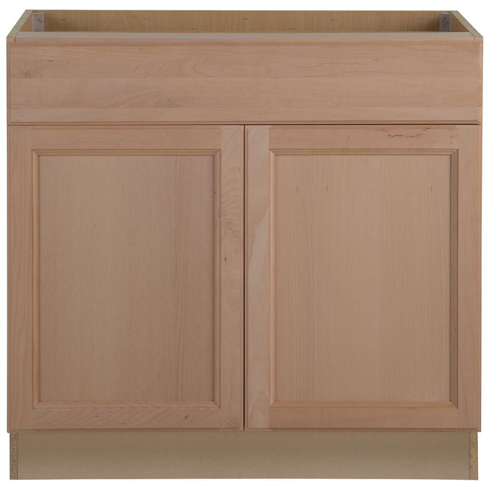 Hampton Bay Easthaven Shaker Assembled 36x34 5x24 In Frameless Base Cabinet With Drawer In Unfinished Beech Eh3635b Gb The Home Depot Unfinished Kitchen Cabinets Wood Kitchen Cabinets Unfinished Cabinets
