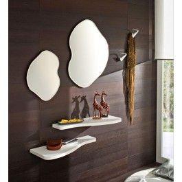 Consolle Ingresso Design Moderno Bianco Lucido Con 2 Specchi