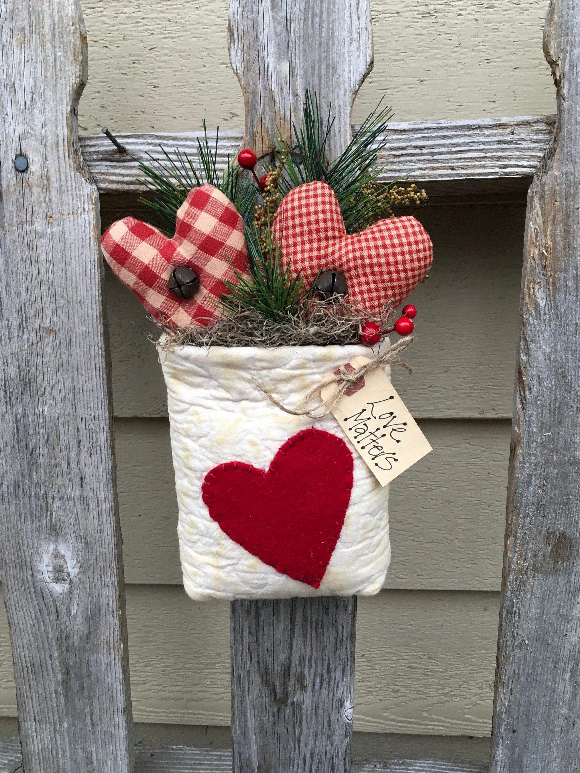 Primitive Handmade Valentines Heart Hanger