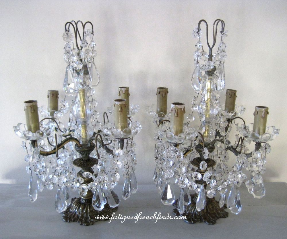Antique French Pair of Bronze & Crystal Girandole Lamps Simply ...