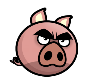 Pig evil. Angry mascot piges of