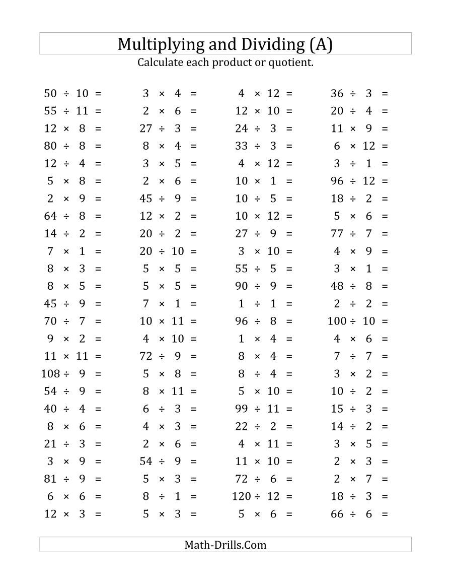 The 100 Horizontal Multiplication/Division Questions ...