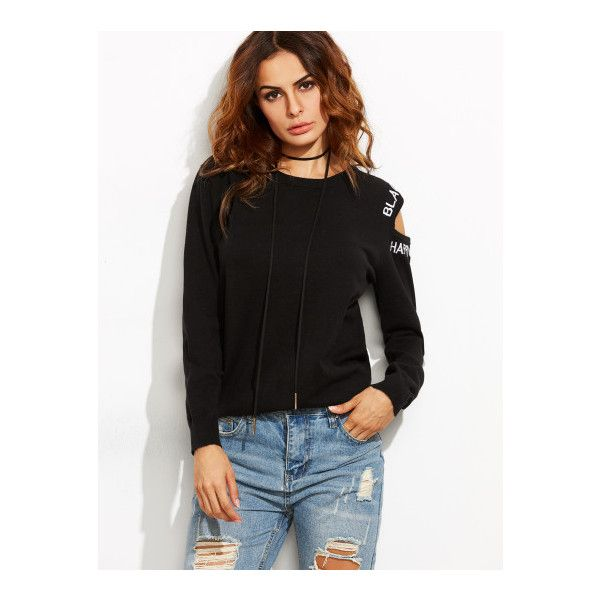 a519c4978d SheIn(sheinside) Black Letter Embroidered Asymmetric Open Shoulder... ($25)  ❤ liked on Polyvore featuring tops, sweaters, black, cotton pullover  sweater, ...