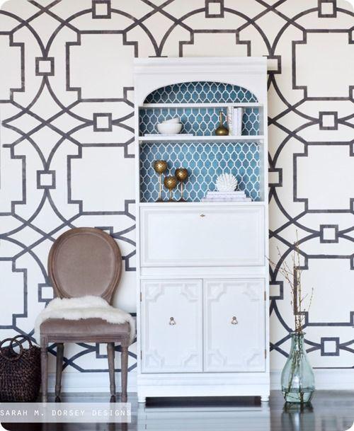 stenciled-wall-secretary-desk For the Home Pinterest Secretary