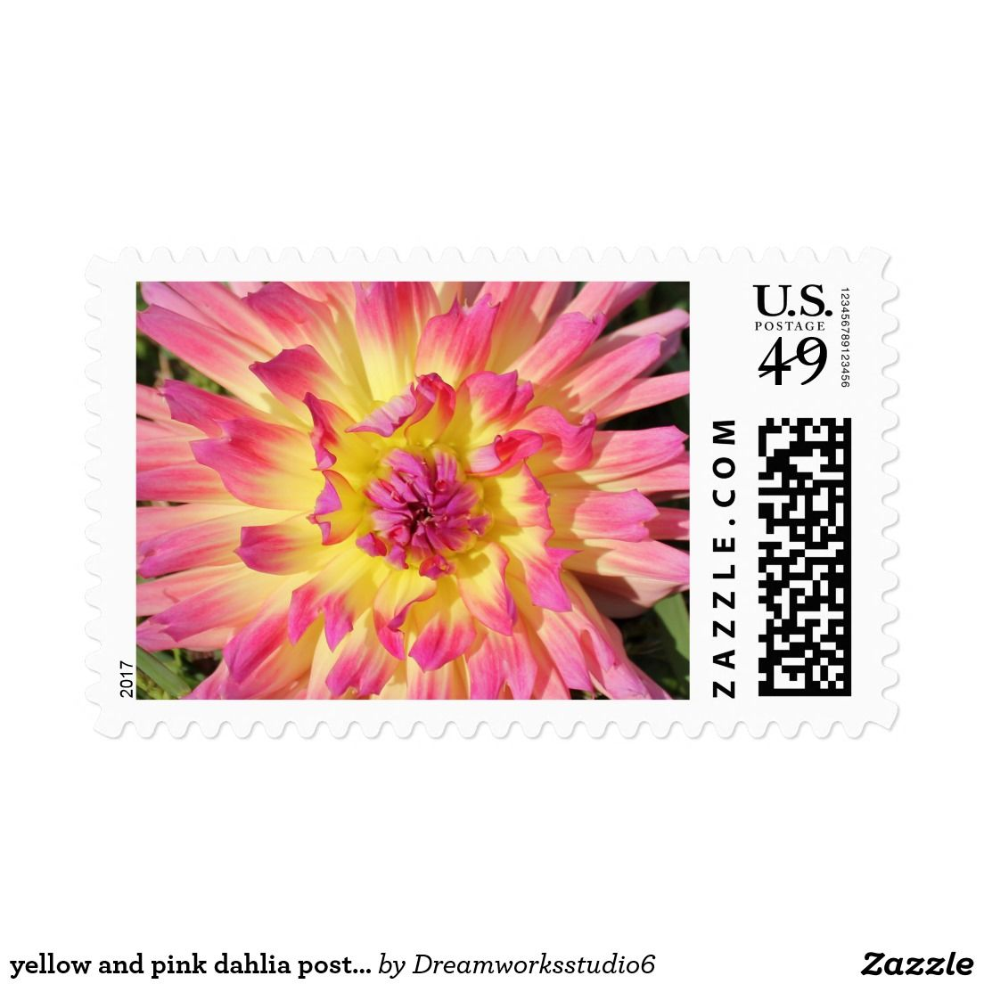 yellow and pink dahlia postage stamps